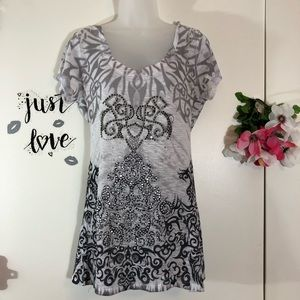 CACHE BURN OUT EMBELLISHED TOP FILIGREE SIZE M